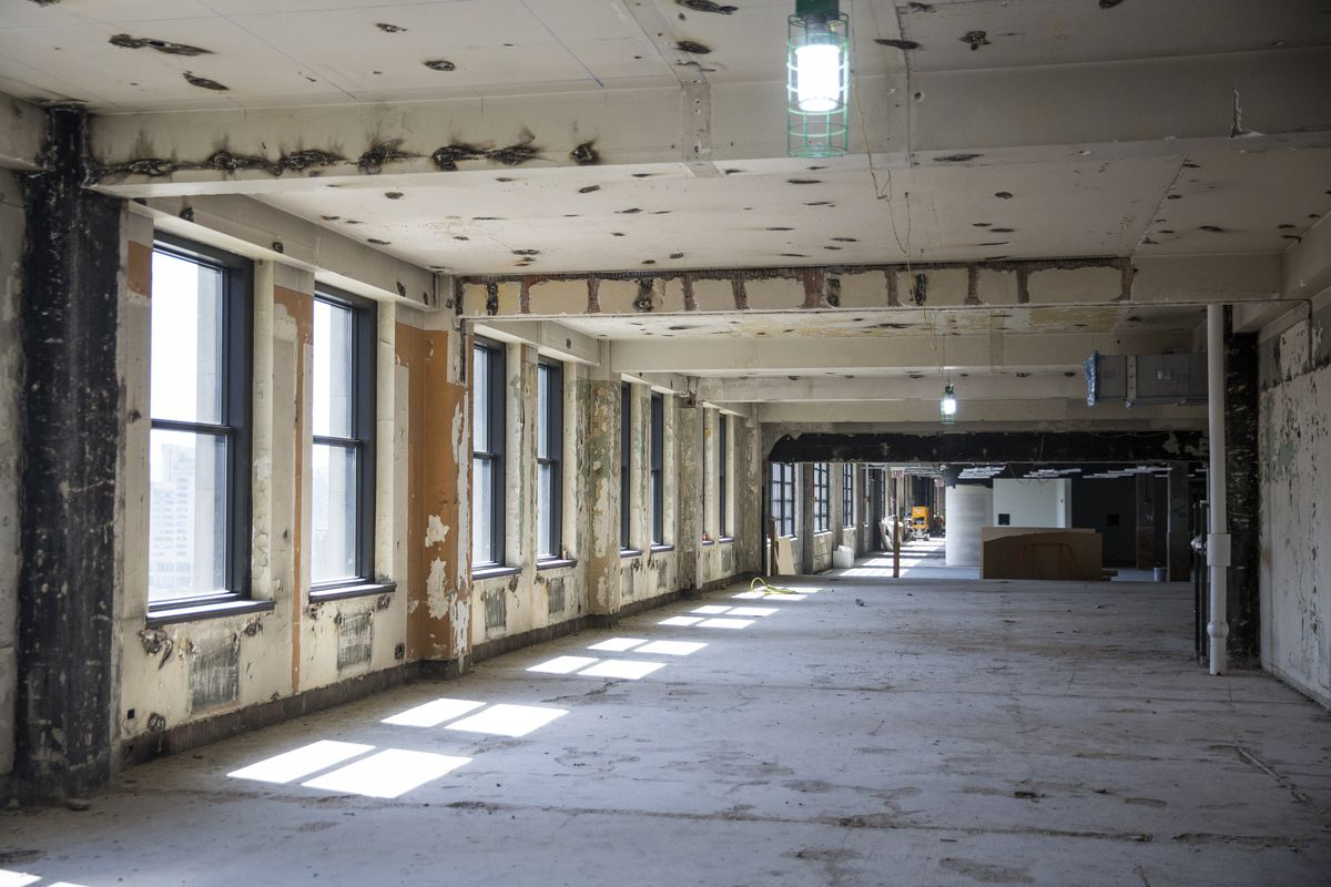 Renovation work continues inside the long-vacant old main Chicago Post Office | Ashlee Rezin/Sun-Times