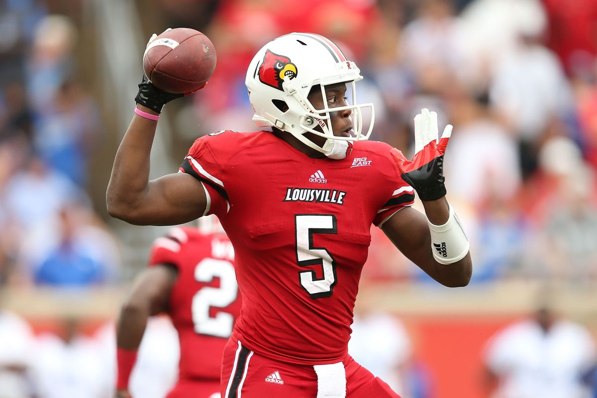 Teddy Bridgewater and Louisville continued to be the only ranked team from the Big East (Photo by Andy Lyons/Getty Images)