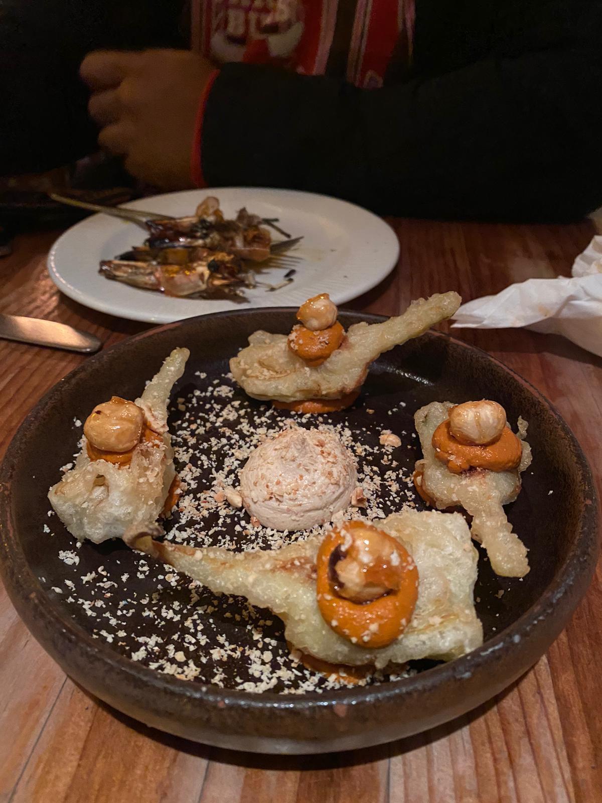 Baby artichokes with romesco and hazelnut puree