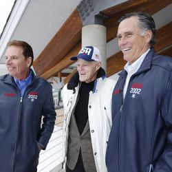 Mitt Romney, right, talks with Spence Eccles, center, and Fraser Bullock, left, at the Utah Olympic Park in Park City on Friday, Feb. 3, 2017. Romney was attending a staff celebration of the 15-year anniversary of the 2002 Olympics.