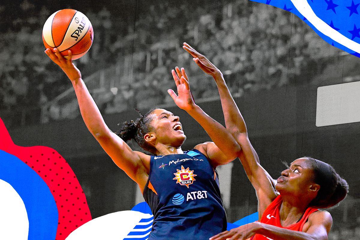 Alyssa Thomas takes a hook shot in the WNBA Finals.
