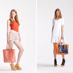 Orla Kiely macrame shorts, $128 (were $300), poppy knit S/L top $119 (was $280), and pink patent scallop bag, $254 (was $460). White t-shirt dress, $106 (was $250) and pink/blue bag, $59 (was $115.)