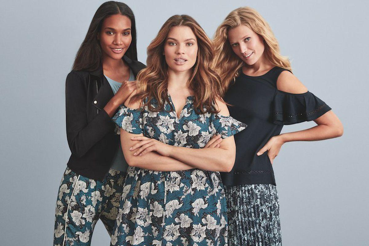 Three models in Joe Fresh clothing