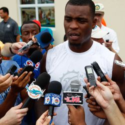 Jul 21, 2013; Davie, FL, USA;  Miami Dolphins defensive end Dion Jordan talks to the media after training camp at the Doctors Hospital Training Facility at Nova Southeastern University.
