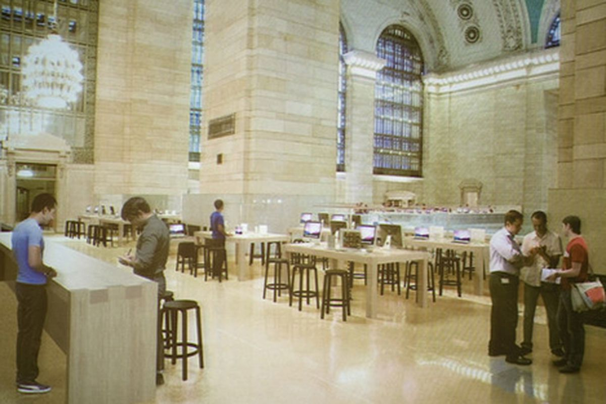 """Rendering of the Grand Central Terminal Apple Store via <a href=""""http://ny.racked.com/archives/2011/07/25/what_apple_grand_central_might_look_like_hotness_week_on_racked.php"""">WSJ</a>"""