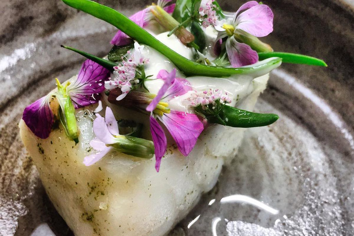 Chef Jock Zonfrillo's black cod and halibut with beach succulents for Manresa.