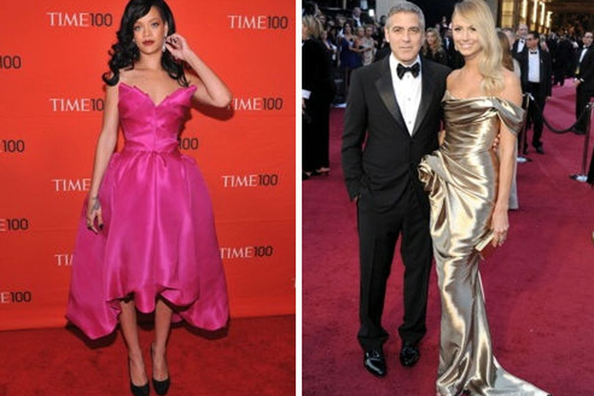 Rihanna and Stacy Keibler in Marchesa. Images via Getty