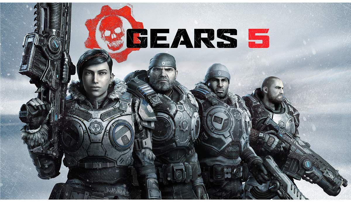 A promotional image for Gears 5 featuring the squad in front of a snowy background