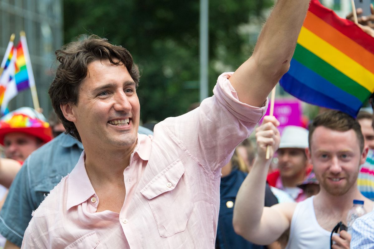 Canadian Prime Minister Justin Trudeau at an LGBTQ Pride parade.