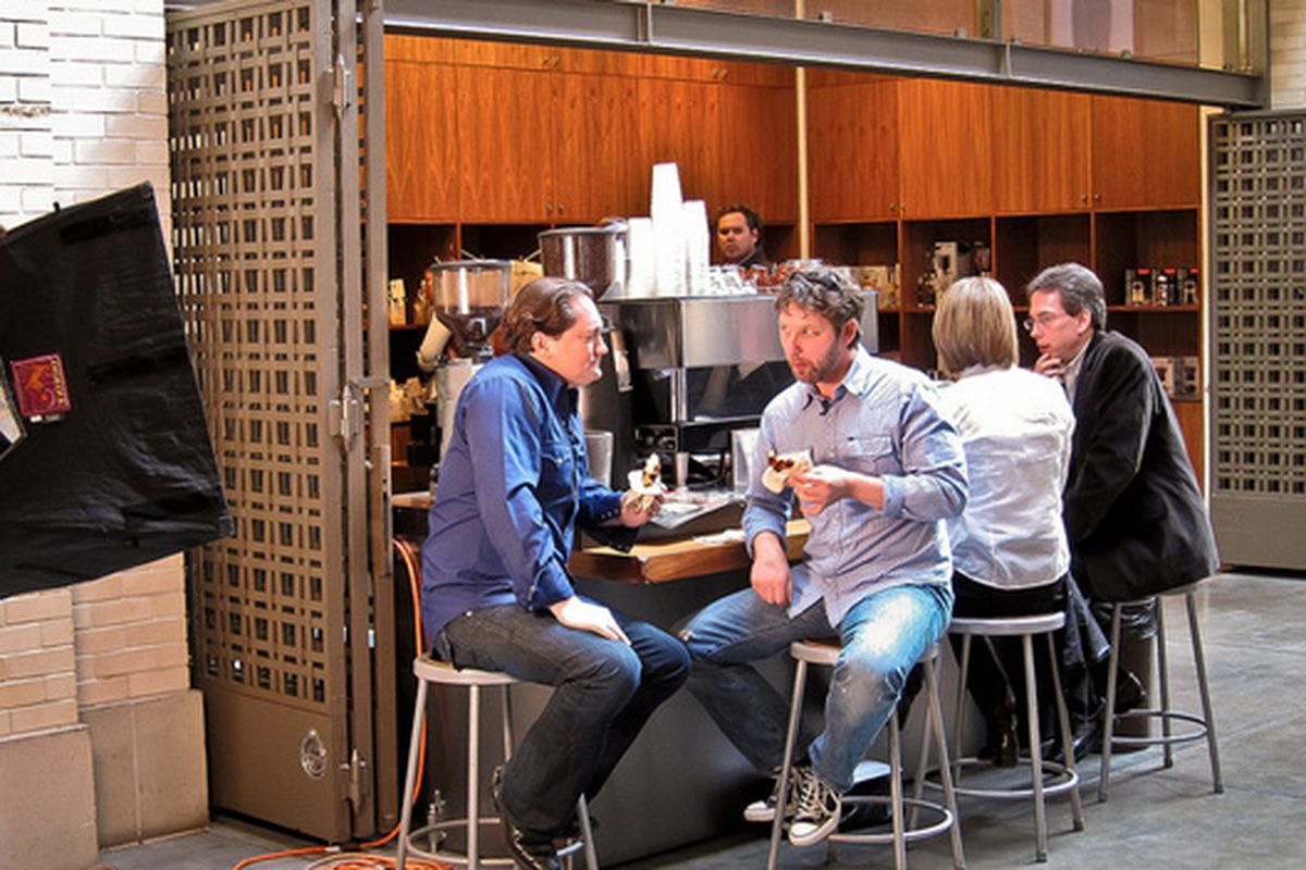 Liam Mayclem of CBS's Eye on the Bay, filming at Blue Bottle.
