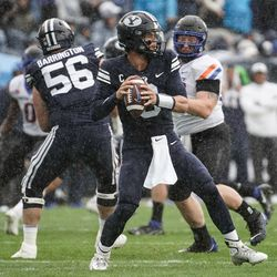 Brigham Young quarterback Jaren Hall looks to throw the ball against Boise State during an NCAA college football game at LaVell Edwards Stadium in Provo on Saturday, Oct. 9, 2021.
