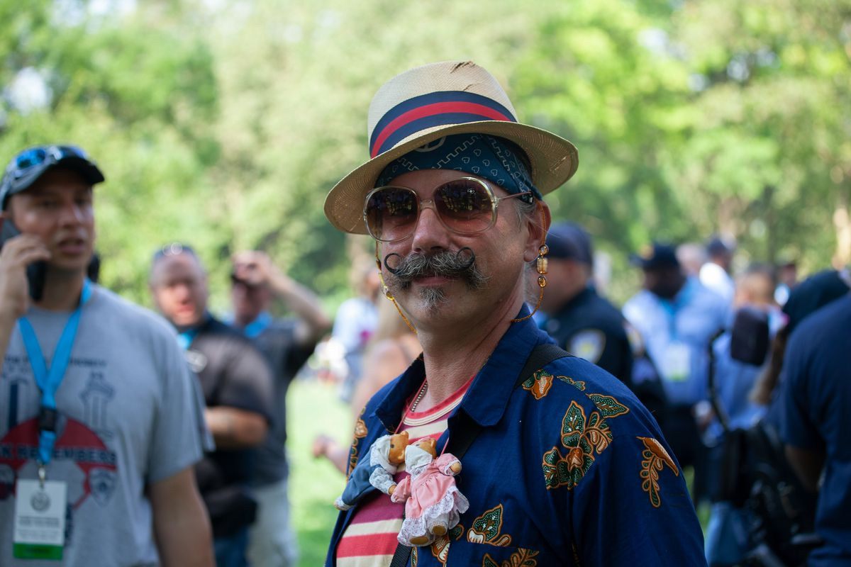 Erik Frampton spoke about working in a Bronx hospital mobile morgue before the parade up the Canyon of Heroes on Wednesday.
