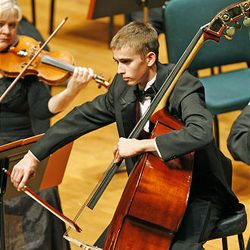 Christian Hales plays Serge Koussevitzky's Concerto during the 50th anniversary Salute to Youth concert Tuesday in Salt Lake City.