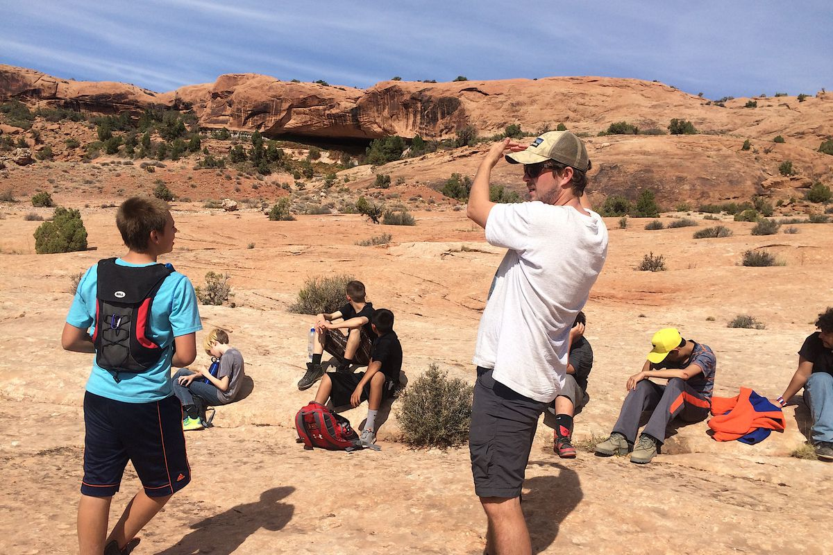 Teacher Andy Guinn with his students during a trip to Moab, Utah.