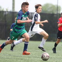 PA Classics U13 forward Nathanial Hovan pushes into Philadelphia Union territory in a game at YSC Sports on June 1, 2019