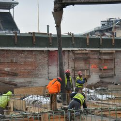 A close up view of the concrete boom in right field