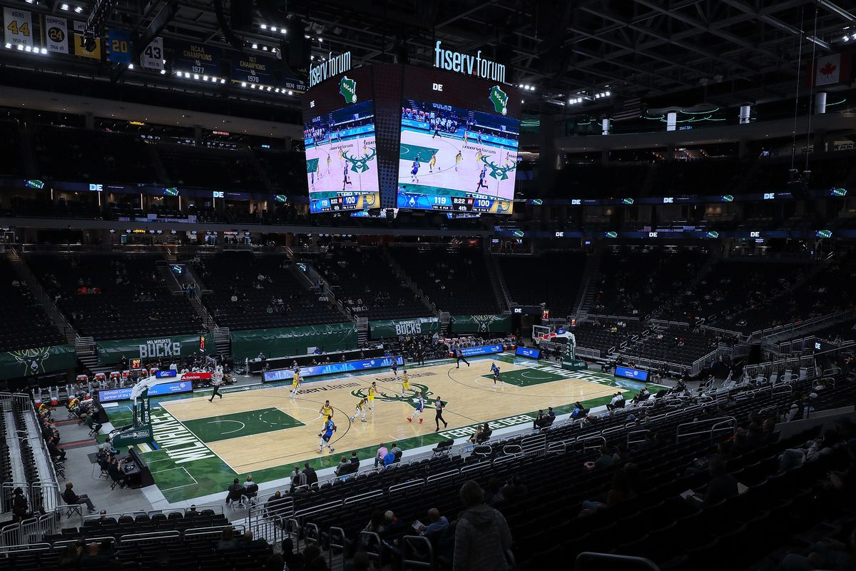 A general view during the game between the Indiana Pacers and Milwaukee Bucks at the Fiserv Forum on March 22, 2021 in Milwaukee, Wisconsin.