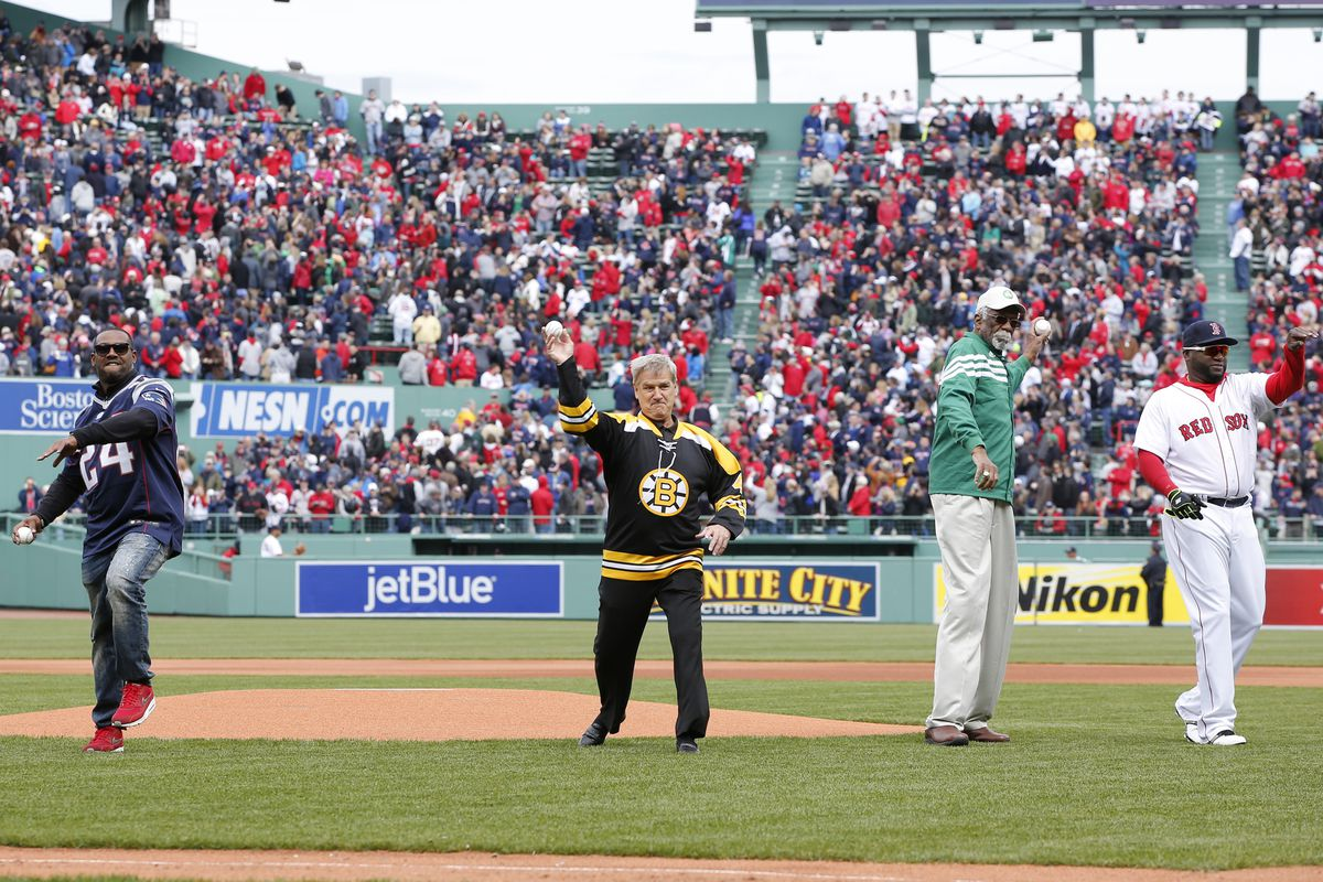 MLB: Baltimore Orioles at Boston Red Sox, Bruin Bobby Orr throws out the first pitch