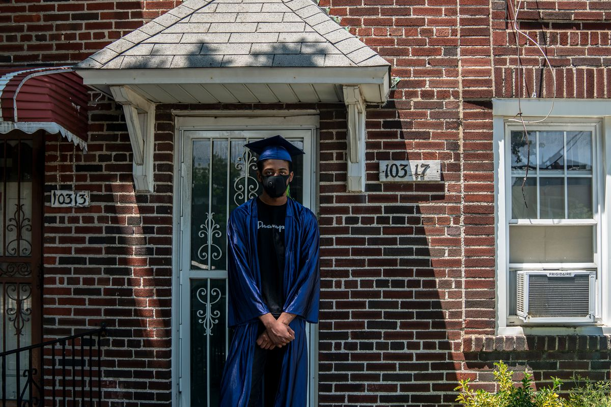 """""""I was not expecting coronavirus to affect the school system so much,"""" said UASEM graduate Taquan Allicock outside his Queens home, June 25, 2020."""