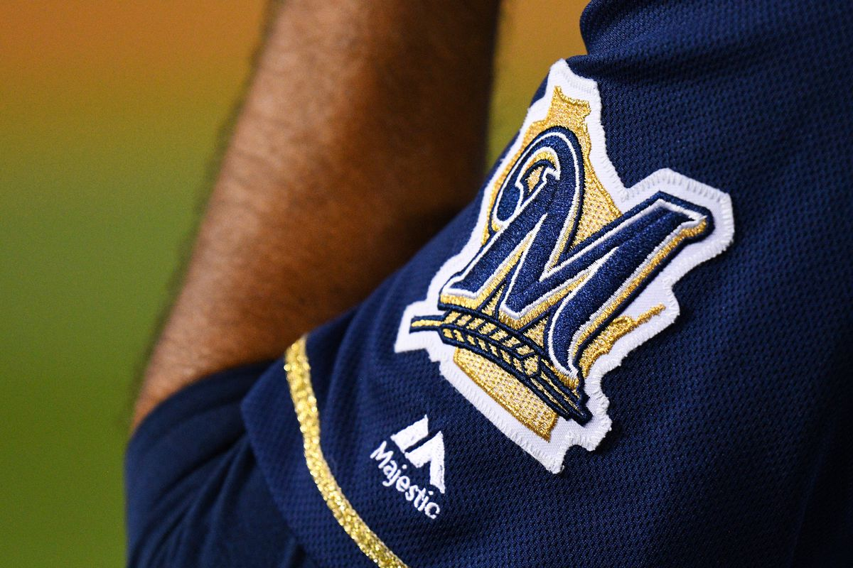 The Brewers logo on a jersey of a player during a MLB game between the Milwaukee Brewers and the Los Angeles Dodgers on April 13, 2019 at Dodger Stadium in Los Angeles, CA.