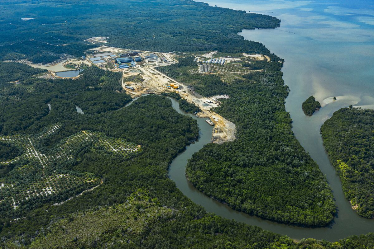 an aerial shot of a palm oil refinery in East Kalimantan, Indonesia