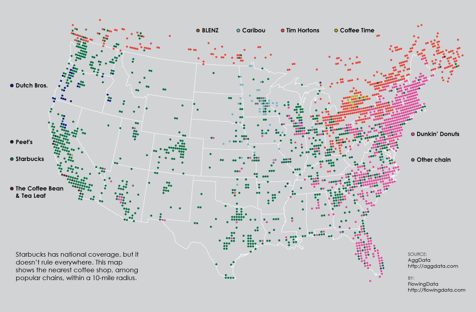 Coffee chains in America, in one map - Vox on