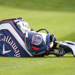 Sam Saunders' golf bag sits on the side of the 18th hole at the 2019 Travelers Championship Third Round at the TPC River Highlands in Cromwell, CT on June 22, 2019.