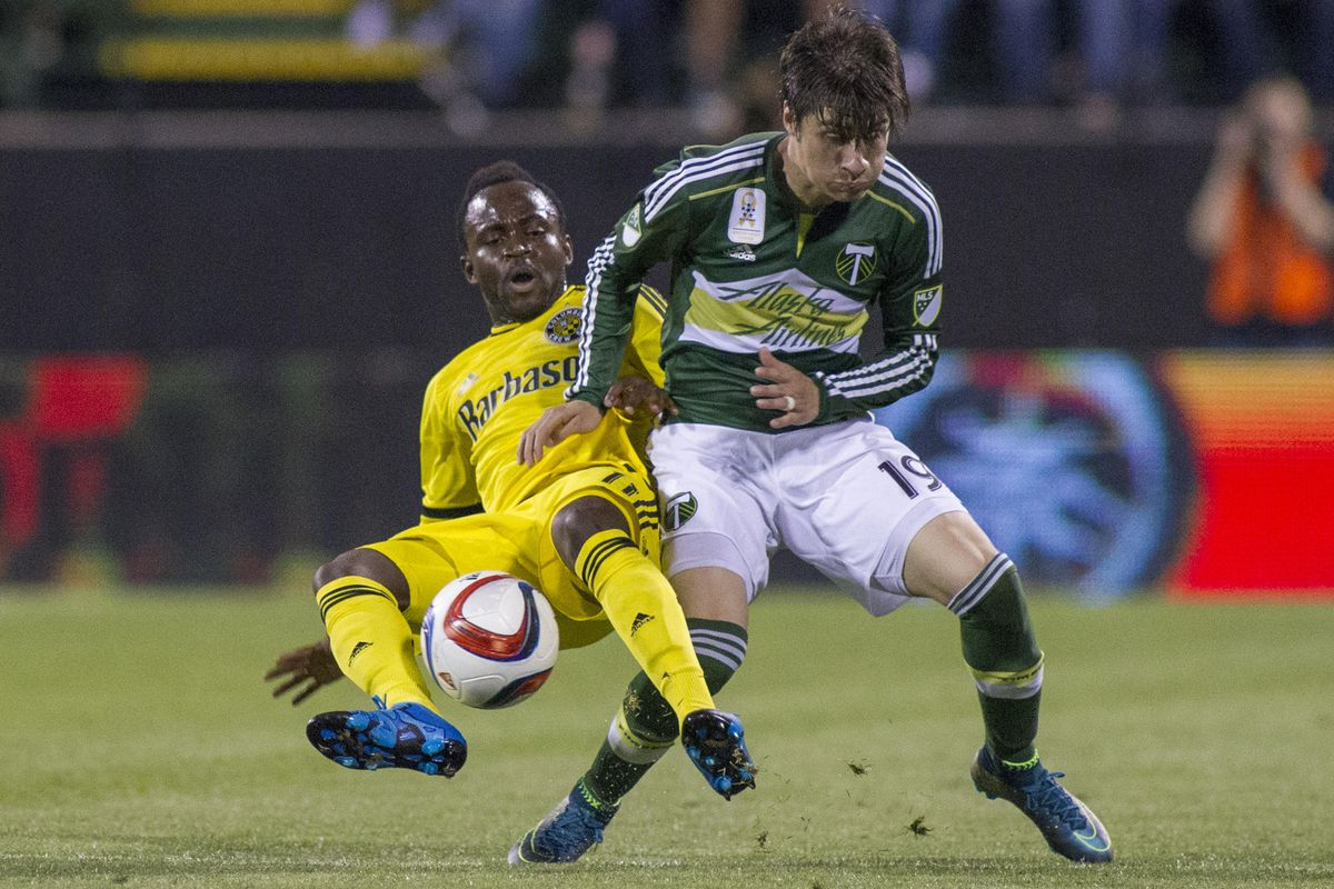 Fullbacks Waylon Francis and Jorge Villafana battle during a matchup between Columbus and Portland on Sept. 27. The Timbers won 2-1. The two clubs will face off again in MLS Cup on Sunday in Columbus, Ohio.