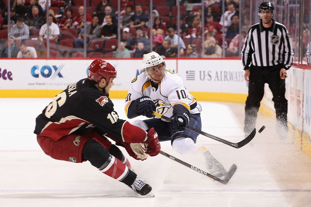 Martin Erat led the Predators in scoring vs. Phoenix with a goal and three assists in three games.