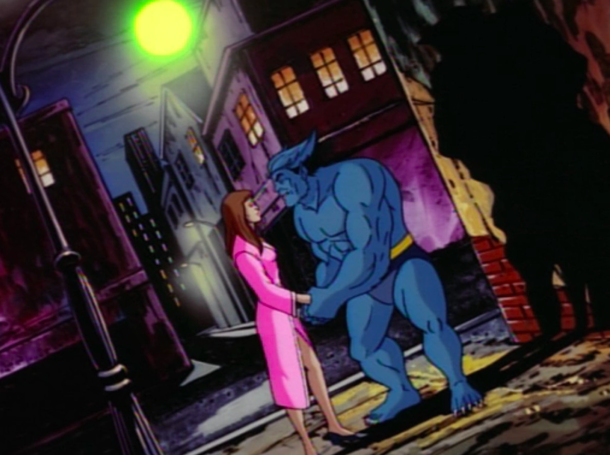 Beast and his girlfriend hold hands in X-Men: The Animated series