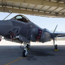 An F-35A Lightning II sits under an awning at Hill Air Force Base on Friday, June 30, 2017. Two of the jets will make their debut during Independence Day flyovers in more than a dozen cities, including Centerville, Clearfield, Huntsville, Liberty, Morgan, Murray, North Ogden, Park City, Riverdale, West Point and Vernal.