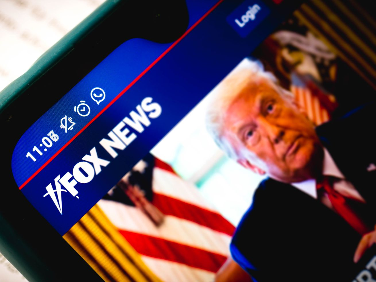 A close-up of the Fox News Channel website seen displayed on a smartphone