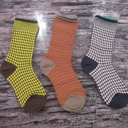 Ikram, one of the foremost purveyors of luxury in the world stocks socks from Y-3 and Sonia Rykiel to Junya Watanabe and Comme. Recently Ikram picked up Italian brand, DePio in houndstoothed yellow with brown, red with tan and white with navy. $85.