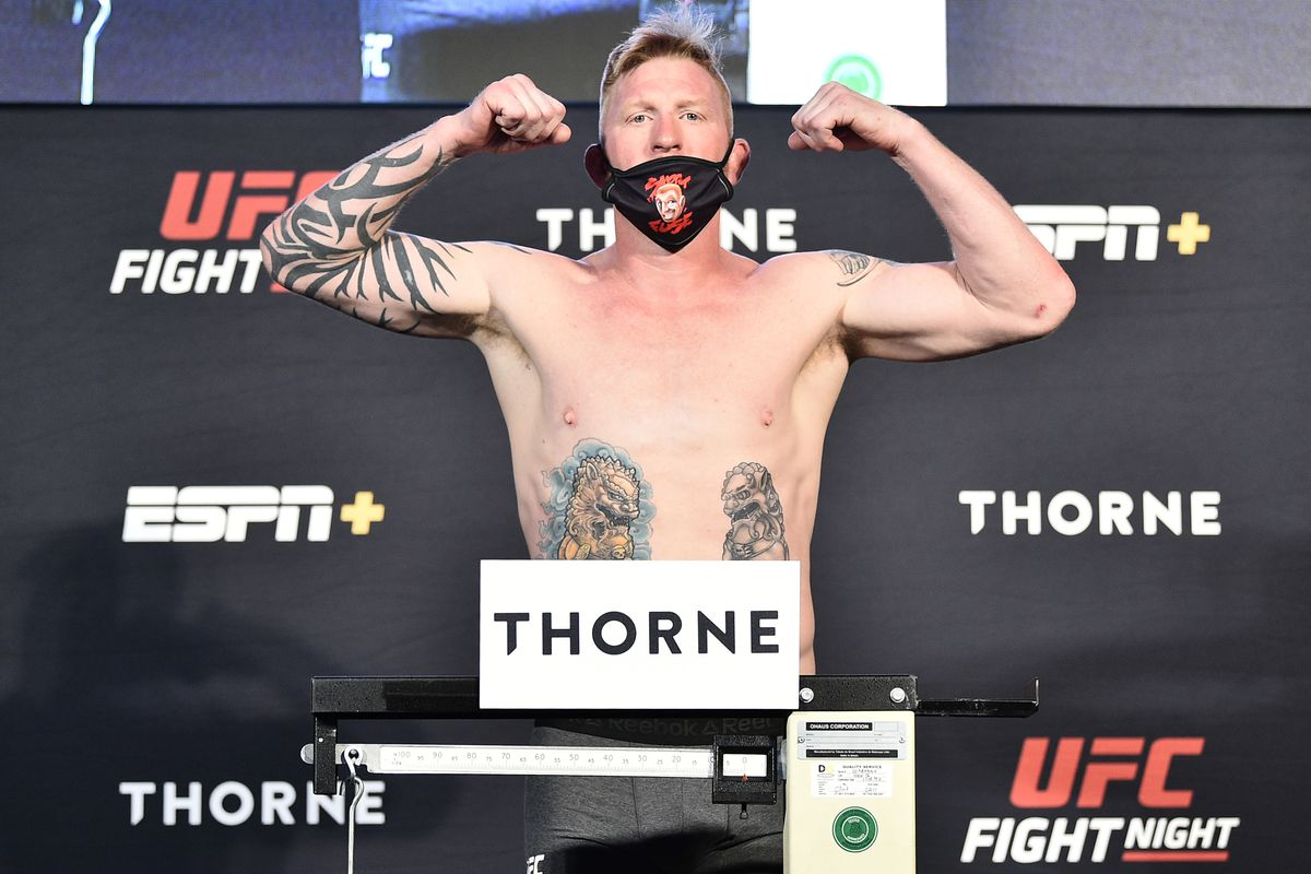 In this handout image provided by UFC, Ed Herman poses on the scale during the UFC Fight Night weigh-in at UFC APEX on July 31, 2020 in Las Vegas, Nevada.