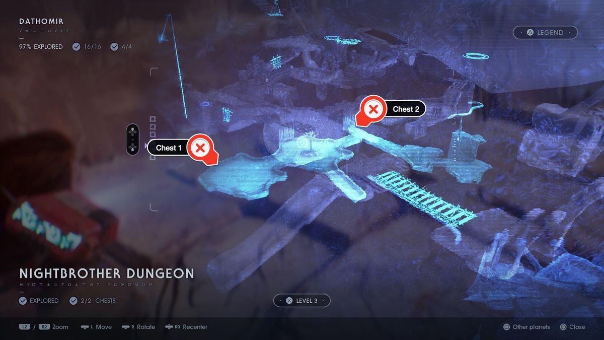Star Wars Jedi Fallen Order Dathomir Nightbrother Dungeon chests map