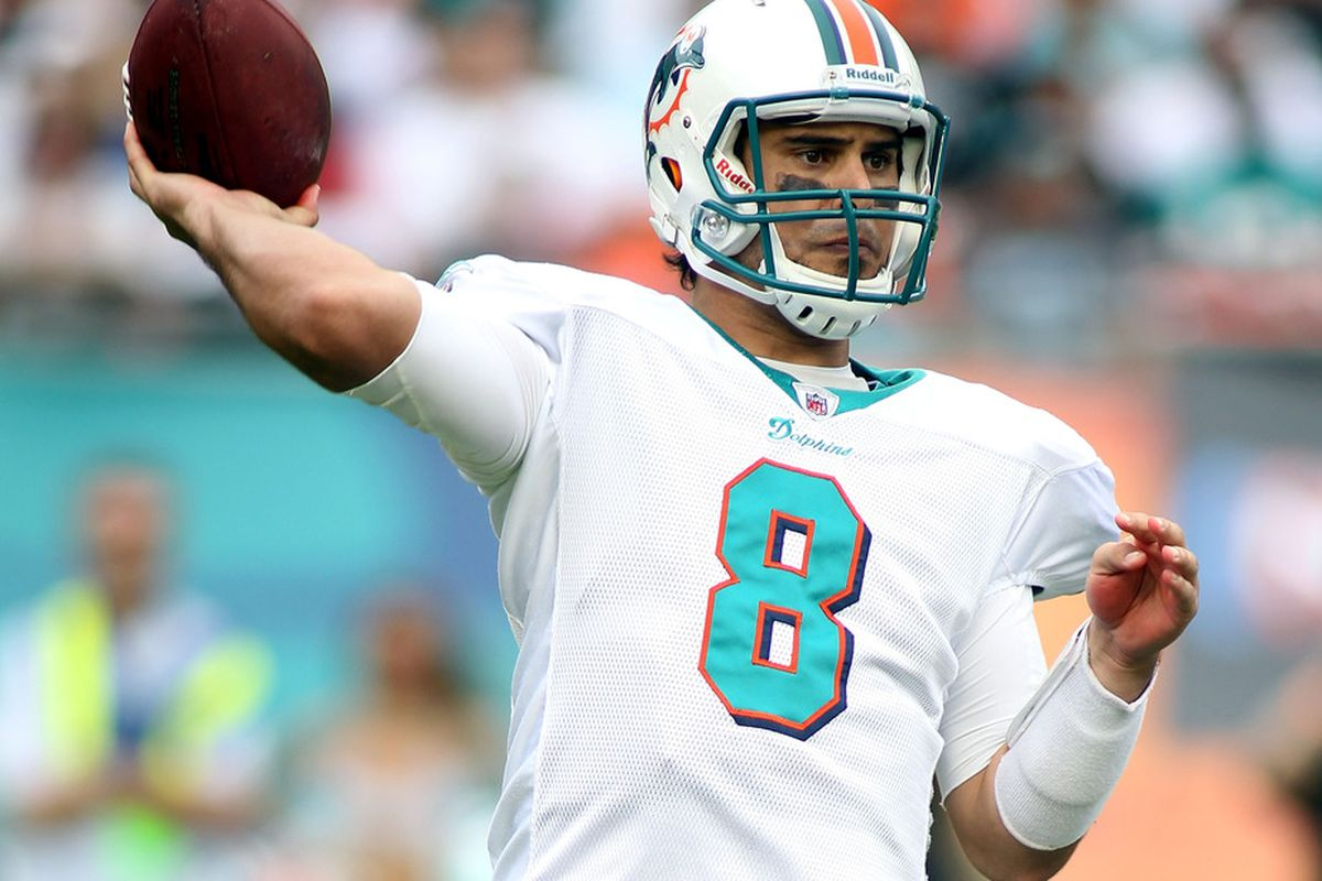 The New York Giants could use some help Thursday from Matt Moore and the Miami Dolphins.  (Photo by Marc Serota/Getty Images)