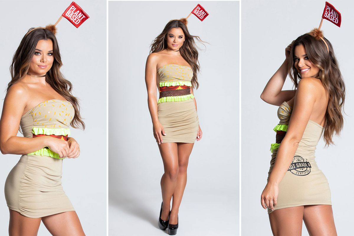 Three photos of a woman dressed as a meatless burger.