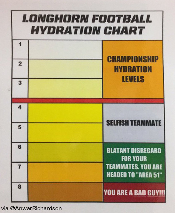 Image result for longhorn football hydration chart