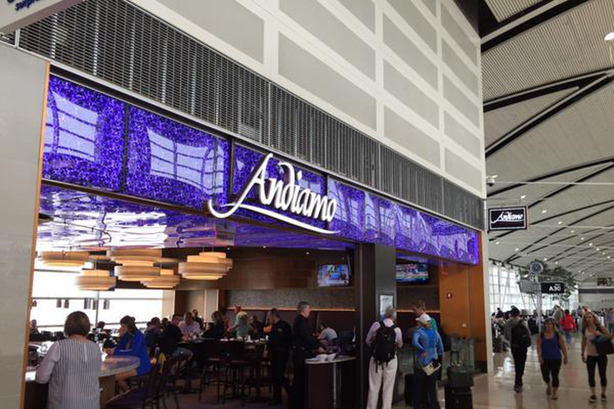 A sign for Andiamo at the Detroit Metropolitan Airport.