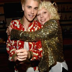 Justin Bieber and Lady Gaga at Saint Laurent. Photo: Kevin Mazur/Getty Images