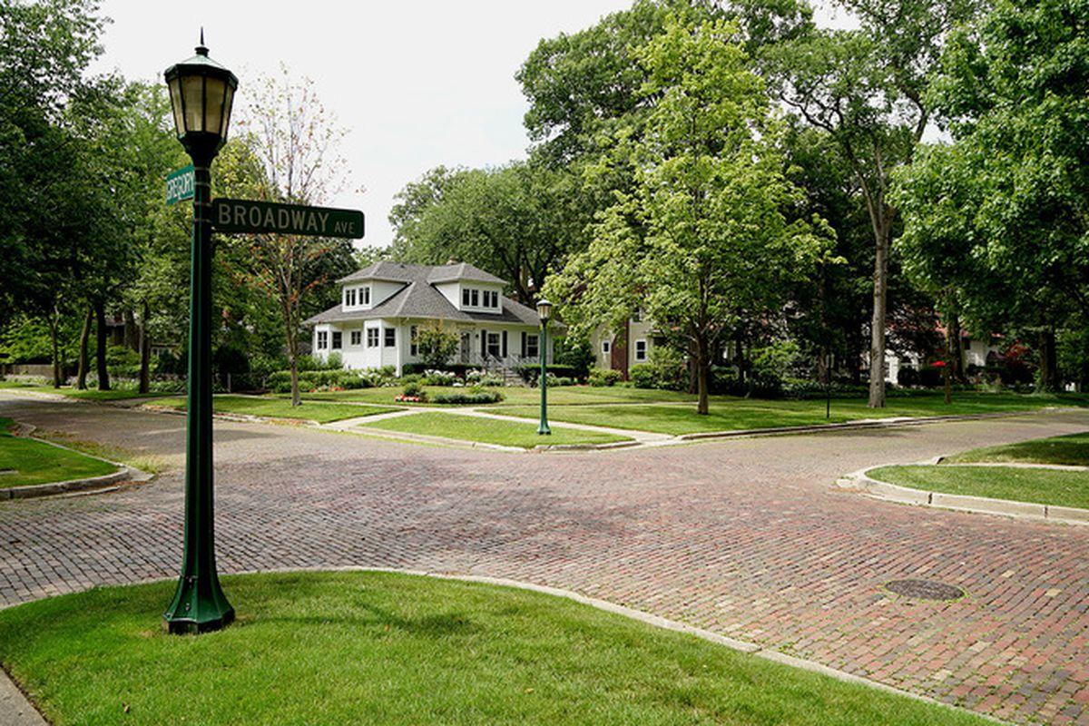 A historic vitrified brick street in Wilmette, Illinois.