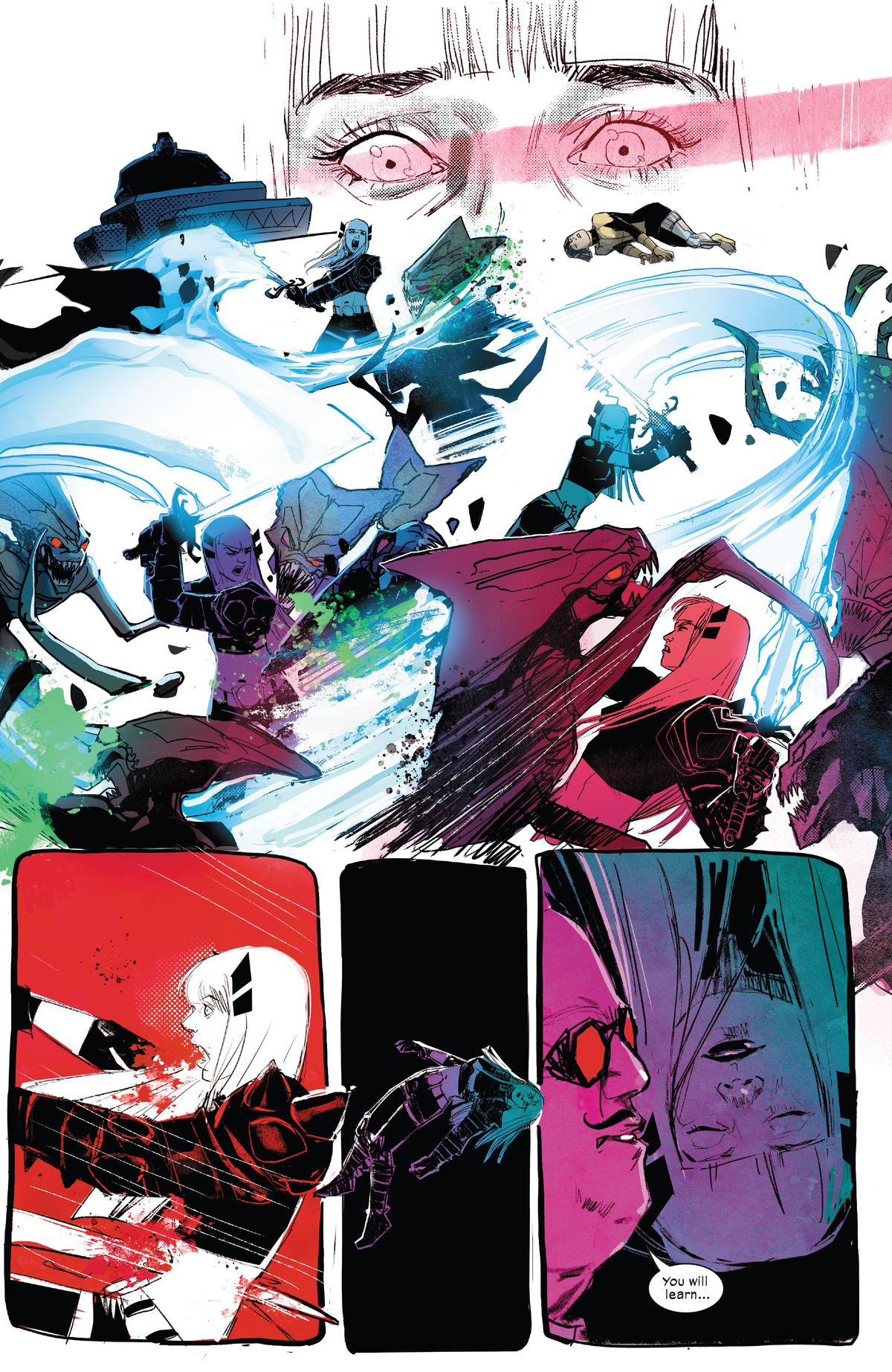Illyana Rasputin/Magik slays brood alien after brood alien in flashes of blue, green, magenta, and purple, before one of them impales her on their claw and she floats through darkness with the Shadow King in New Mutants #22 (2021).