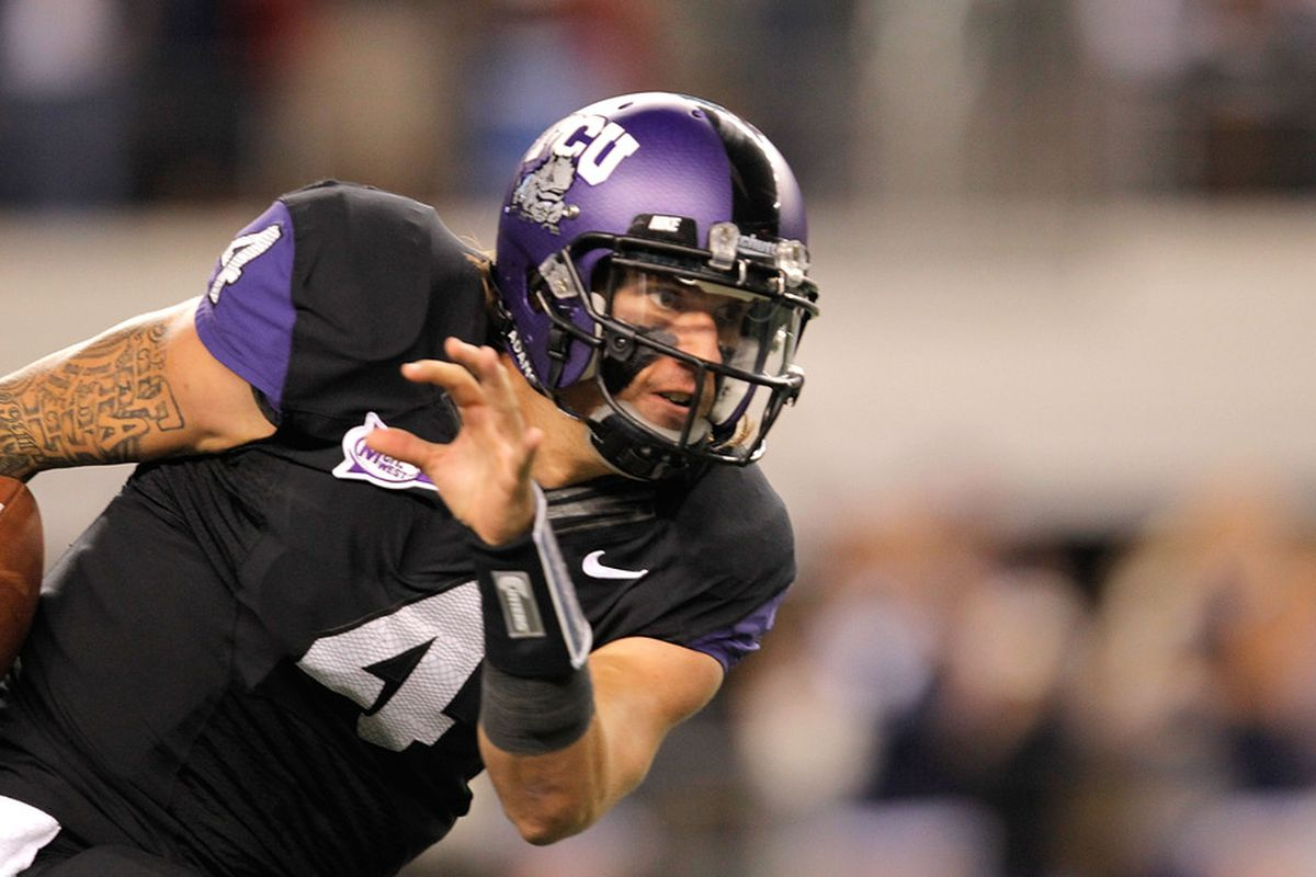 ARLINGTON, TX - OCTOBER 28:  Casey Pachall #4 of the TCU Horned Frogs (Photo by Sarah Glenn/Getty Images)