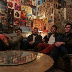From left, Nick Blosil, Coleman Edwards, Kimball Barker, Isaac Lomeli and Jared Scott lounge at Velour Live Music Gallery in Provo.