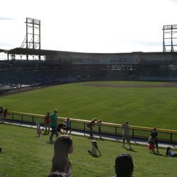 The view toward home plate from right field