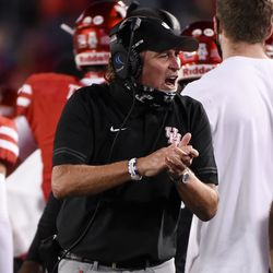 Houston head coach Dana Holgorsen celebrates his team's touchdown during the first half of an NCAA college football game against BYU, Friday, Oct. 16, 2020, in Houston.