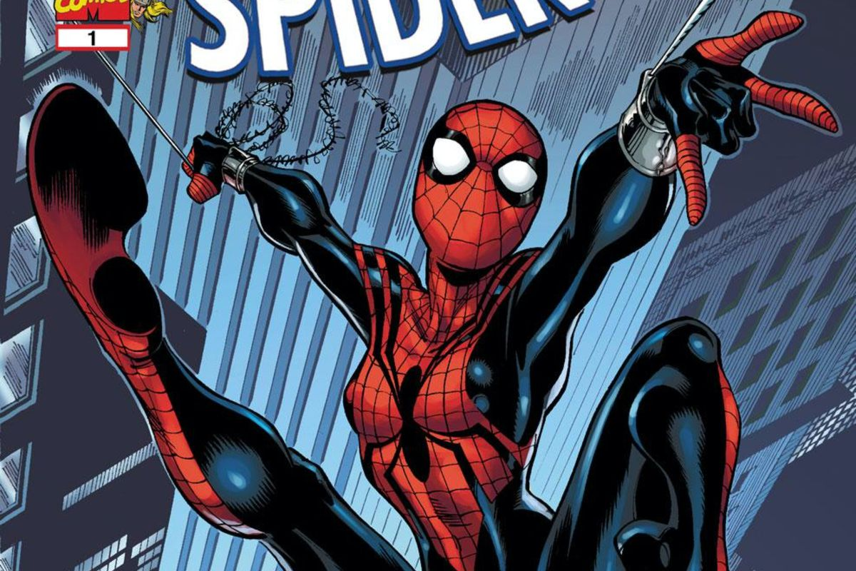 Spider-Girl swings through the concrete canyons on the cover of Spectacular Spider-Girl #1, Marvel Comics (2009).