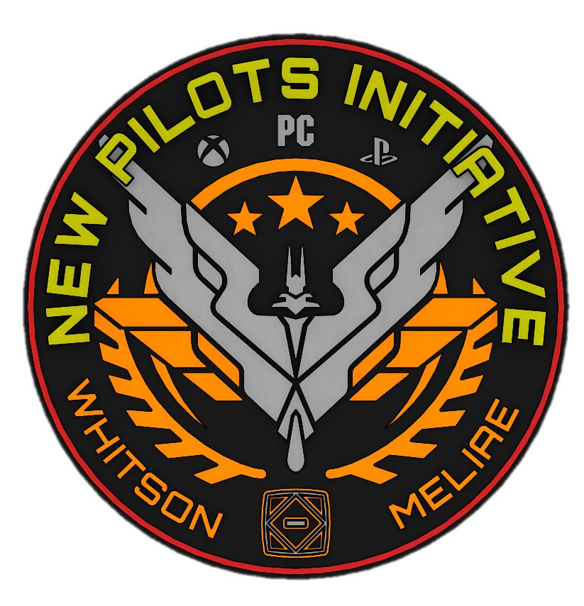 The mission patch for the New Pilots Initiative features an Elite chevron, plus all three major platforms where the game is played.
