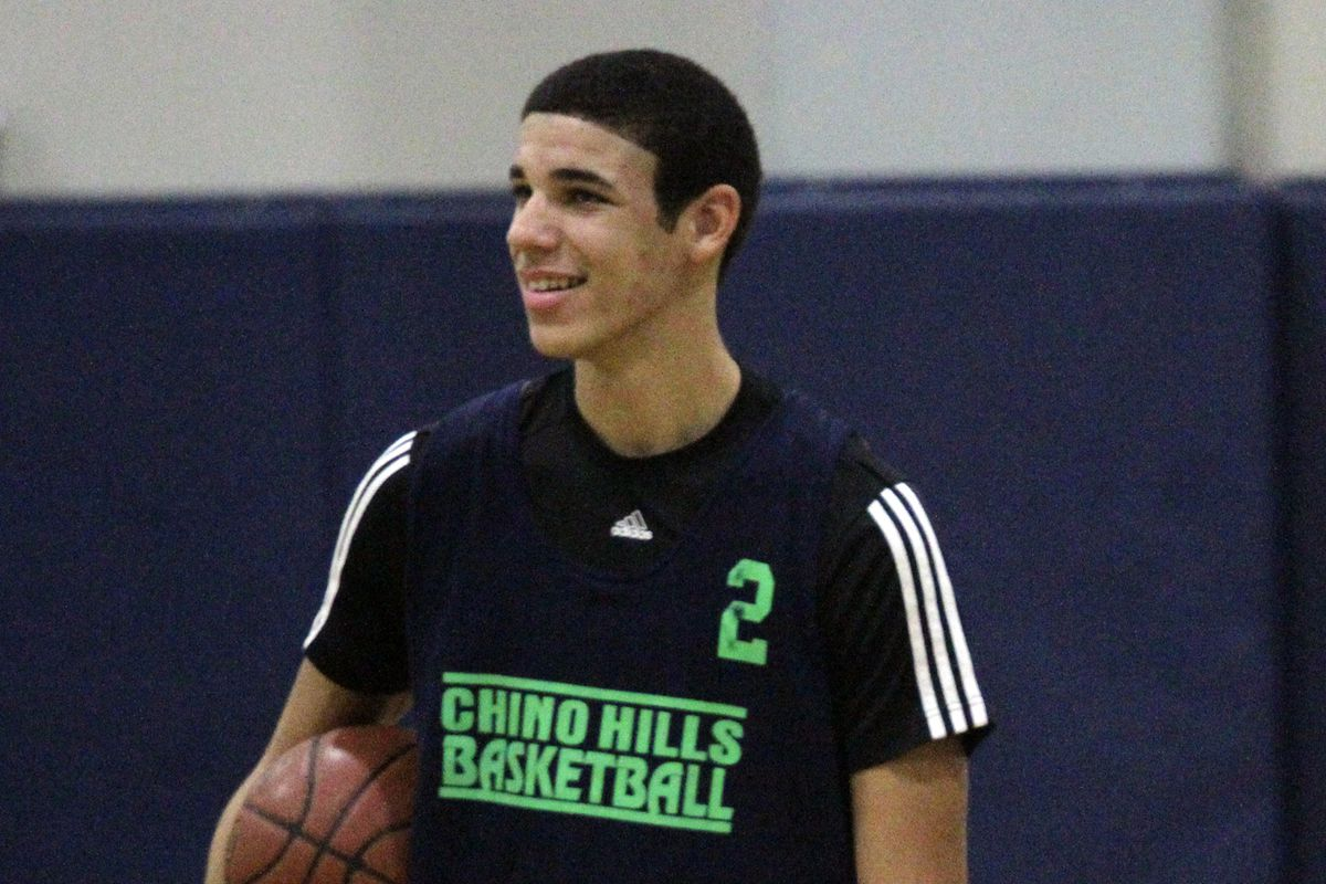 Lonzo Ball, a Chino Hills 6-foot-5 sophomore guard was practicing with his team at Chino Hills High