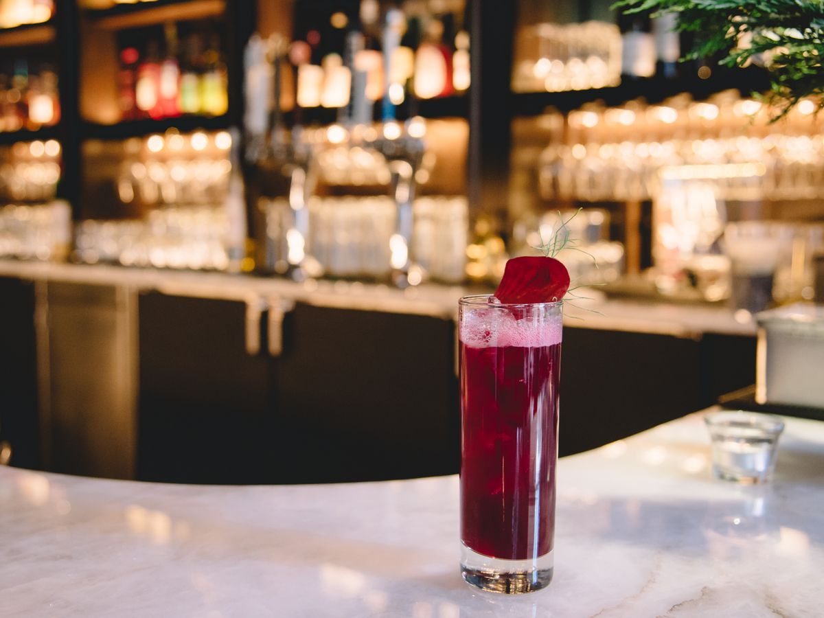 A winter harvest cocktail with Marble vodka, Galliano, beets, and fennel